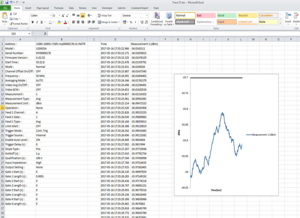 export data log to excel