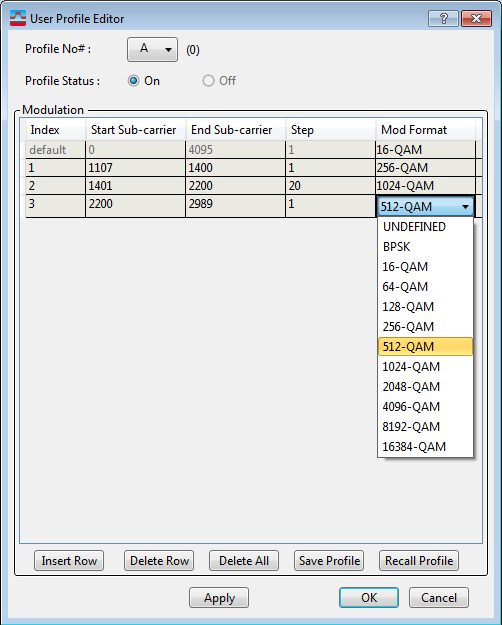 User Profile Editor (DOCSIS 3 1 Downstream)