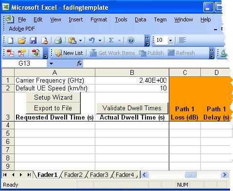 using an excel template to enter dynamic fading settings
